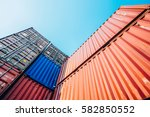 containers box from cargo... | Shutterstock . vector #582850552