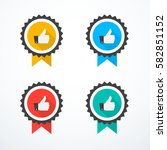 set of award icons. thumb up... | Shutterstock .eps vector #582851152