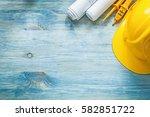 electric tester building helmet ...   Shutterstock . vector #582851722