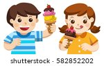illustration of cute boy and... | Shutterstock .eps vector #582852202