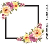 floral square background... | Shutterstock . vector #582853216