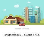 city buildings behind cottage... | Shutterstock .eps vector #582854716