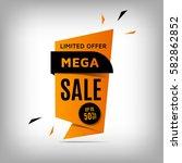 mega sale banner design.... | Shutterstock .eps vector #582862852