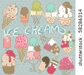 doodle set of ice creams | Shutterstock .eps vector #58286314