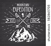 mountain expedition vintage... | Shutterstock .eps vector #582865705