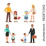 family lifestyle. parents take... | Shutterstock .eps vector #582871342