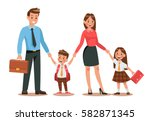 family lifestyle. parents take... | Shutterstock .eps vector #582871345
