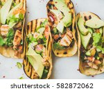 healthy corn tortillas with... | Shutterstock . vector #582872062