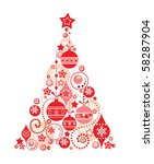 red christmas tree | Shutterstock .eps vector #58287904