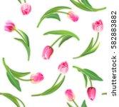 realistic tulips vector... | Shutterstock .eps vector #582883882