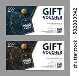 gift voucher template set with... | Shutterstock .eps vector #582883942