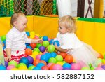 little cute girl playing in the ... | Shutterstock . vector #582887152