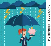 a business woman with umbrella... | Shutterstock .eps vector #582887746