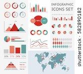 world map infographic. vector... | Shutterstock .eps vector #582890182