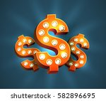 cool 3d red dollar signs with... | Shutterstock .eps vector #582896695