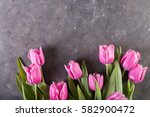 pink tulips on gray abstract... | Shutterstock . vector #582900472