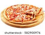 assorted meat pizza  mozzarella ... | Shutterstock . vector #582900976