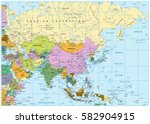 asia political map with roads...   Shutterstock .eps vector #582904915