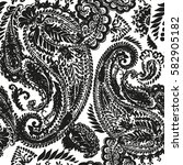paisley vector hand drawn... | Shutterstock .eps vector #582905182