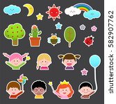 set of kids and cute nature... | Shutterstock .eps vector #582907762