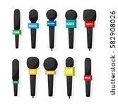 microphone reporter equipment.... | Shutterstock .eps vector #582908026
