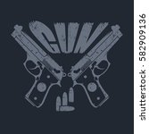 two guns and ammo. emblem with...   Shutterstock .eps vector #582909136