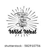 wooden direction arrow sign... | Shutterstock .eps vector #582910756
