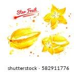 watercolor illustration of star ... | Shutterstock . vector #582911776
