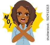 young african american angry... | Shutterstock .eps vector #582913315