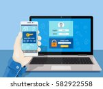 two steps authentication on... | Shutterstock .eps vector #582922558