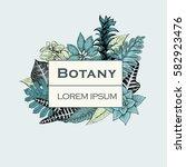 hand drawn vector botany...   Shutterstock .eps vector #582923476