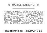 line web banner for mobile... | Shutterstock .eps vector #582924718