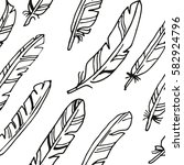 feather black and white... | Shutterstock . vector #582924796