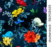 flowers. poppy  wild roses ... | Shutterstock .eps vector #582928105