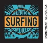 surfing san diego typography ...   Shutterstock .eps vector #582928765