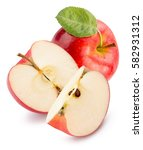 red apple with slices isolated... | Shutterstock . vector #582931312