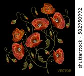 embroidery beautiful poppies.... | Shutterstock .eps vector #582950992
