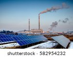 solar panels and coal power... | Shutterstock . vector #582954232