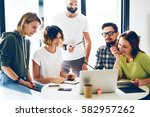 group of project managers are... | Shutterstock . vector #582957262