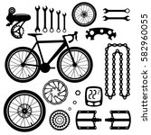 bicycles. set of bicycle parts | Shutterstock .eps vector #582960055