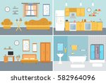set of vector interiors with... | Shutterstock .eps vector #582964096