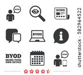 byod icons. human with notebook ... | Shutterstock .eps vector #582964522