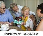 senior life celebration... | Shutterstock . vector #582968155