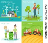 eco set  recycling  planting...   Shutterstock .eps vector #582969592