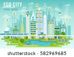 eco city skyline vector... | Shutterstock .eps vector #582969685