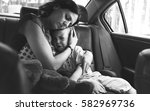mother soothe her son crying in ... | Shutterstock . vector #582969736