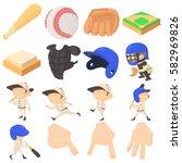 Baseball Items Icons Set....