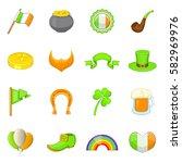 saint patrick icons set.... | Shutterstock .eps vector #582969976
