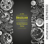 brazilian food top view.... | Shutterstock .eps vector #582983032