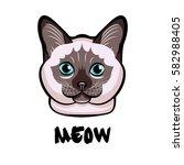 cute cat head pop art. isolated ... | Shutterstock .eps vector #582988405